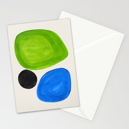 Mid Century Modern Retro Minimalist Colorful Shapes Phthalo Blue Lime Green Native Pebbles Stationery Cards