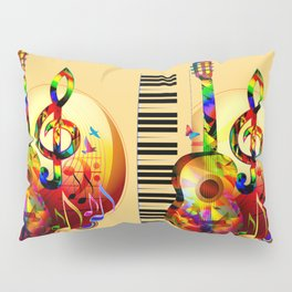 Colorful  music instruments painting, guitar, treble clef, piano, musical notes, flying birds Pillow Sham