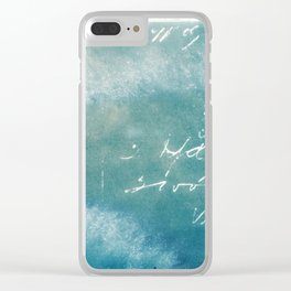 Blue Vintage Writing Cyanatope Print Clear iPhone Case
