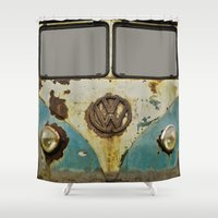 vw Shower Curtains featuring VW Rusty by Alice Gosling