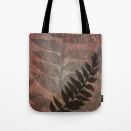 Pantone Living Coral Abstract Grunge with Fern Leaf - Foliage Silhouettes Tote Bag