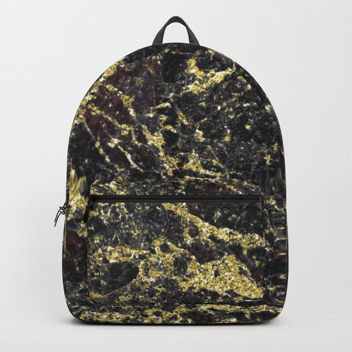Marble - Glittery Gold Marble on Black Design Backpack
