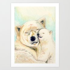 Polar bears, mother and child Art Print