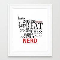 nerd Framed Art Prints featuring Nerd by Jessica Jimerson