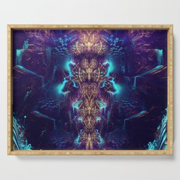 Crystal Magma - Fractal Manipulation - Manafold Art Serving Tray