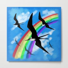 Frigate Birds Flying Metal Print
