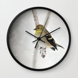Goldfinch Clinging to an Icy Branch Wall Clock