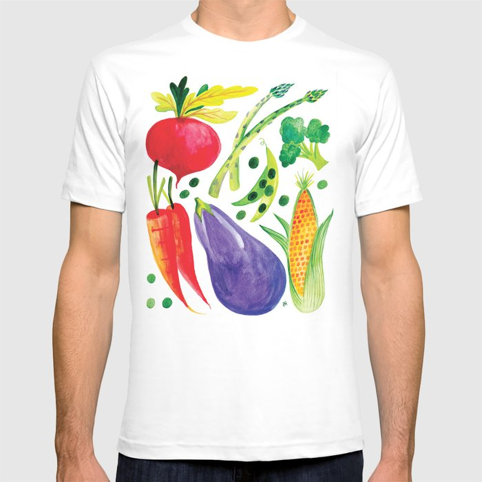 951ddb0d30a8b Veg Out - Vegetable, Veggies, Watercolor, Food, Beet, Carrot, Pea T-shirt  by patricehorvath