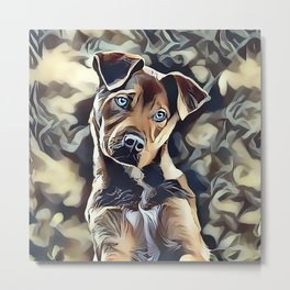 The Blue Eyed Pit bull Puppy Metal Print