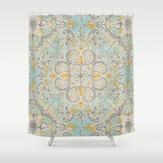 Gypsy Floral in Soft Neutrals, Grey & Yellow on Sage Shower Curtain