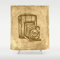 vintage camera Shower Curtains featuring Vintage Camera by haroulita
