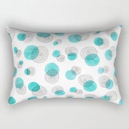 Teal Dots and Black Circles Rectangular Pillow
