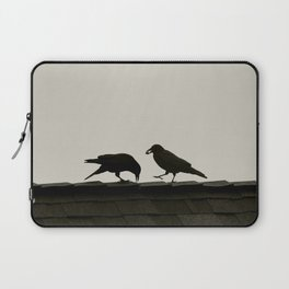 Two Crows on a Rooftop - Graphic Birds Series, Plain - Modern Home Decor Laptop Sleeve