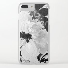 Black and White of Birthday AcrylicHibiscus Flower Painting Clear iPhone Case