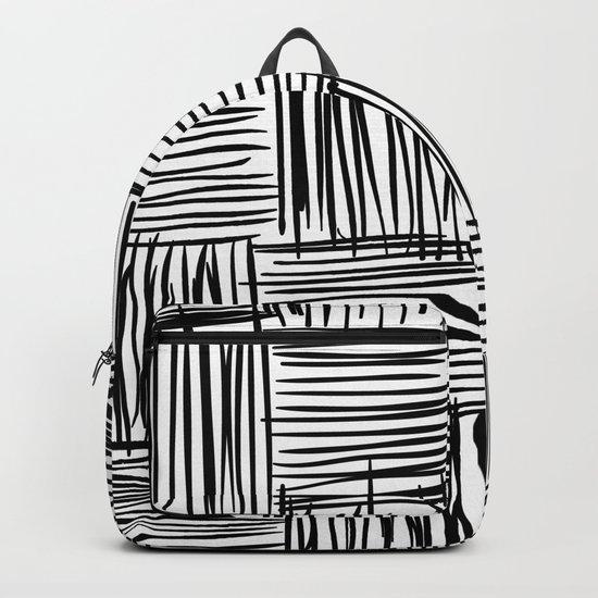 Modern Square Black on White Backpack