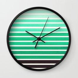 Teal Green Mid Century Modern Minimalist Scandinavian Colorful Stripes Geometric Pattern Round Circl Wall Clock