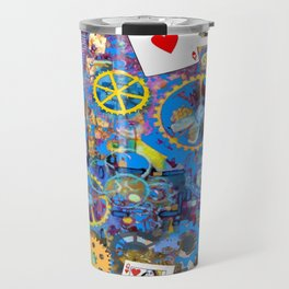 BLUE BOHEMIAN STEAMPUNK MUSICAL CARDS GAME Travel Mug