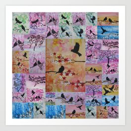 the serenity series- patchwork of sakura and birds -watercolor and acrylic- by Catherine Jacobs Art Print