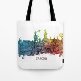 Cracow City Skyline  map #krakow #cracow Tote Bag