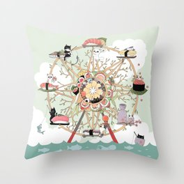 The Sushi Wheel Throw Pillow