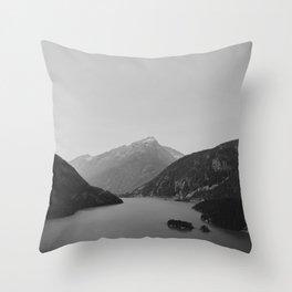 Lake (Black and White) Throw Pillow