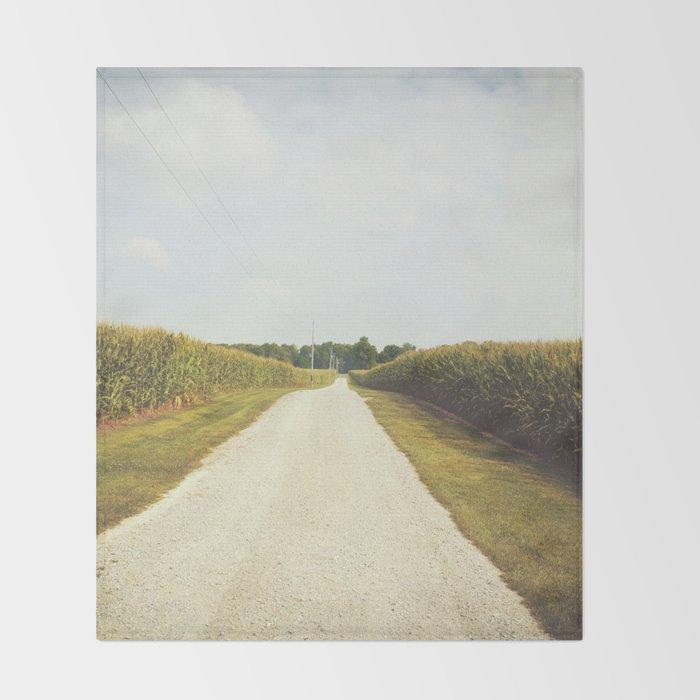 Indiana Corn Field Summers Throw Blanket