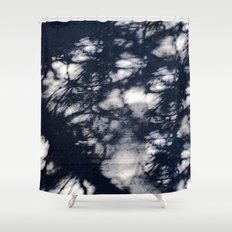 Navy Blue Pine Tree Shadows on Cement Shower Curtain