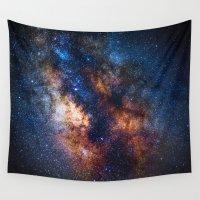 milky way Wall Tapestries featuring Milky Way by Zavu