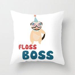 Floss Like A Boss Dance Shirt Pug Flossing Dog 4th Of July Throw Pillow