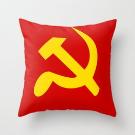 Soviet Union Hammer and Sickle Communist flag. Throw Pillow