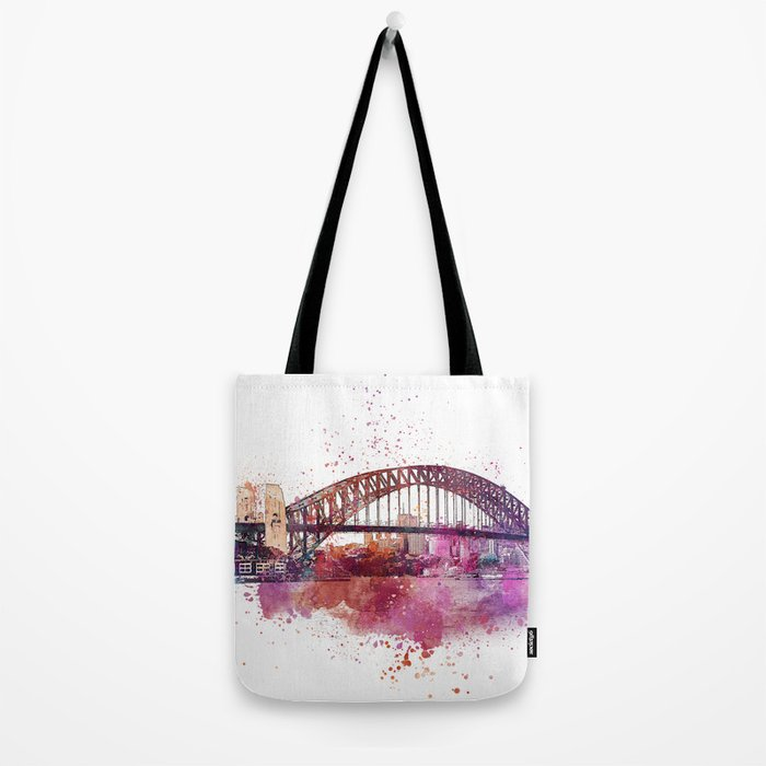 Sydney Harbor Bridge Watercolor Art Tote Bag