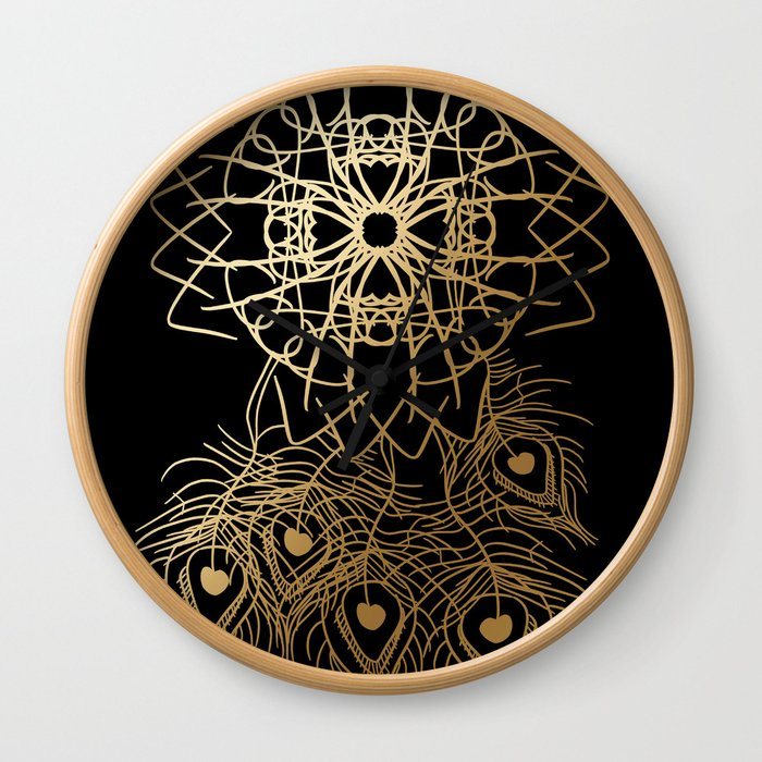 Black and Gold Peacock Feather Dreamcatcher Wall Clock