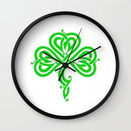 Pretty Celtic Knot Style Shamrock Irish Pride Wall Clock