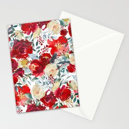 Red teal hand painted boho watercolor roses floral Stationery Cards