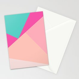 Pastel pink turquoise modern geometric color block pattern Stationery Cards