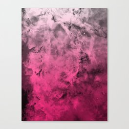 Liquid Space Nebula : Gray to Pink Ombre Gradient Canvas Print