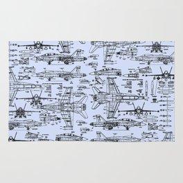 F-18 Blueprints // Light Blue Rug