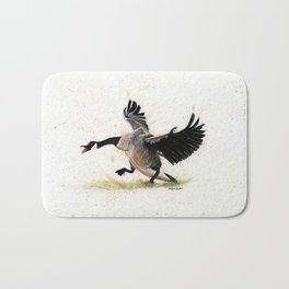 Cranky Goose - watercolor art, bird, animals Bath Mat