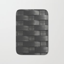 Black synthetic wicker texture Bath Mat