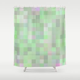 geometric square pixel pattern abstract in green and pink Shower Curtain