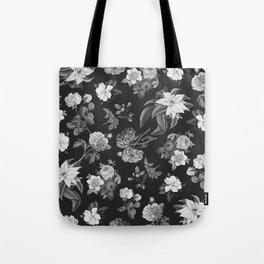 Vintage flowers on black Tote Bag