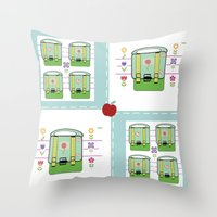 backpack Throw Pillows featuring Backpack  Quilt -Apple by Drape Studio