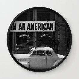 I Am An American Photo Dorothea Lange Wall Clock