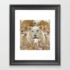Lions led by a lamb Framed Art Print