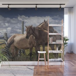 Western Horses in the Pasture by a Wooden Fence Wall Mural
