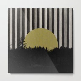 Forest and striped sky - grey Metal Print