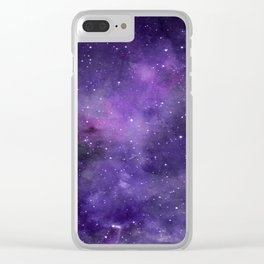 Purple Watercolor Space Pattern Clear iPhone Case