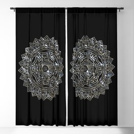 Aztec Mexican Silver Mandala Blackout Curtain