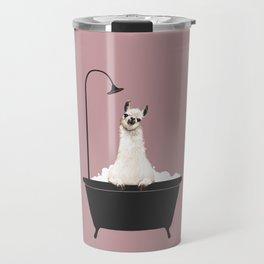 Llama in Bathtub Travel Mug