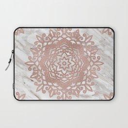 Rose gold mandala on taupe marble Laptop Sleeve